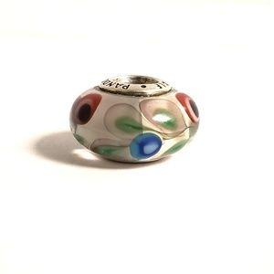 Pandora Charm | Glass Bead with Colorful Flowers